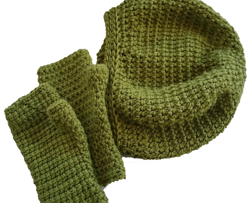 Inside Out Mitts and Inside Out Slouch Crochet Pattern by ReVe Design Co - flat lay in olive green
