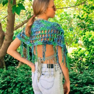 Camelot Capelet Crochet Pattern - green back