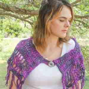 Camelot Capelet Crochet Pattern - purple front