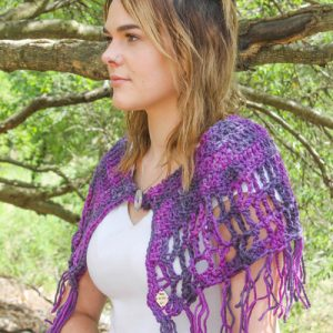 Camelot Capelet Crochet Pattern - purple side