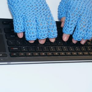 EasyFit FingerTip Gloves - Blue Closeup on Keyboard