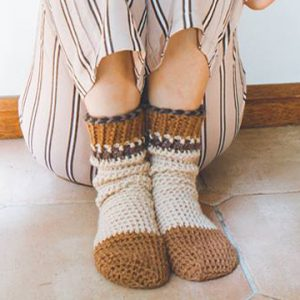 Brown Comfy Cuff Socks Crochet Pattern