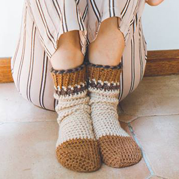 Brown Comfy Cuff Socks Crochet Pattern