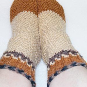 Brown Comfy Cuff Socks two on foot