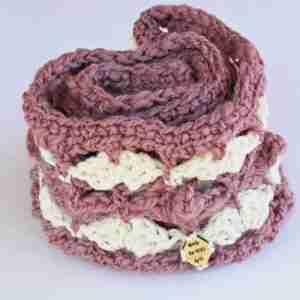 Fanfare Delight Cowl - Cream & Dusty Pink