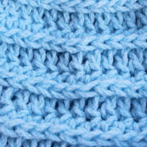 3rd loop Pastel Blue Valley Beanie - closeup