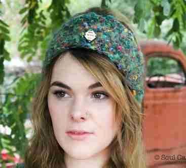 Green Mohair Market Headband