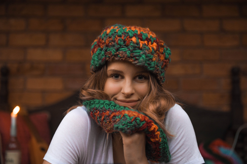 Funhouse Beanie & Funhouse Cowl - a funky neckwarmer with matching hat - up close