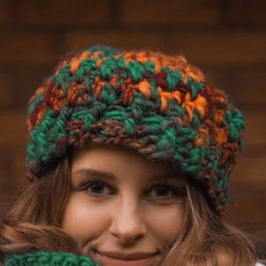Funhouse Beanie - a funky warm hat - up close