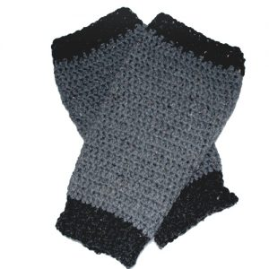 Leg warmers for exercise or casual wear - 2-tone grey-black pair - diagonally stacked for ReVe Design Co