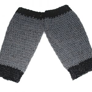 Legwarmers for you to crochet - 2-tone grey-black pair - layed flat but angled for ReVe Design Co
