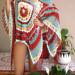 Desert Dreams Poncho Crochet Pattern - multicolored - closeup