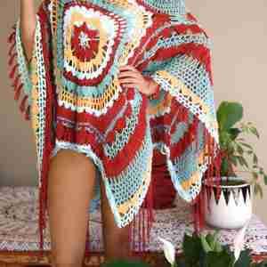 Desert Dreams Poncho Crochet Pattern - multicolored - closeup