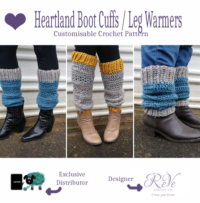Heartland Boot Cuffs Leg Warmers - customizable crochet pattern