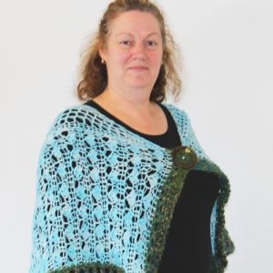 Aqua and Green Strolling Along Shawl - Side on person 1