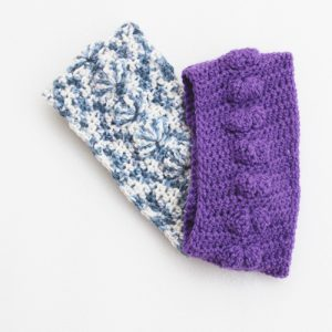 Shells Headband Crochet Pattern - 2 versions - purple and blue cream variegated - stacked