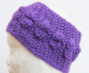 Shells Headband Crochet Pattern - in purple - on head