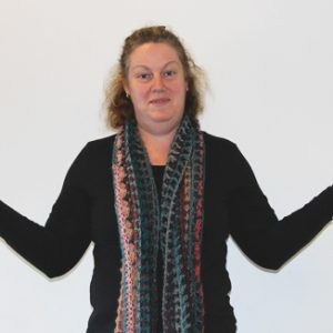 Senorita Shawl Crochet Pattern - as a scarf on person 2