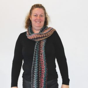 Senorita Shawl Crochet Pattern - as a scarf on person