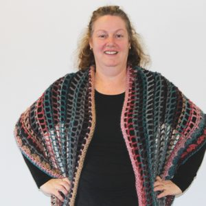 Senorita Shawl Crochet Pattern - as a shawl on person from front