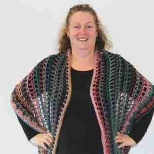 Senorita Shawl Crochet Pattern - as a shawl on person from front
