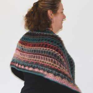 Senorita Shawl Crochet Pattern - as a shawl on person from side