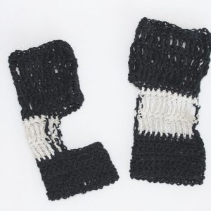 Black and Cream Exercise Socks Crochet Pattern - Large size in Recycled Vintage Denim