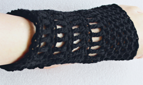 ExerLoopy Socks Crochet Pattern - in Black Cotton - On foot, top view