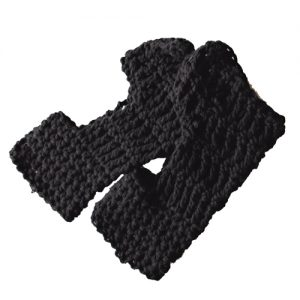 ExerLoopy Socks Crochet Pattern in Black Cotton - side view stacked