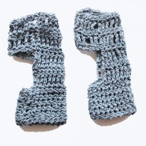 ExerLoopy Socks Crochet Pattern - in Recycled Denim - side view
