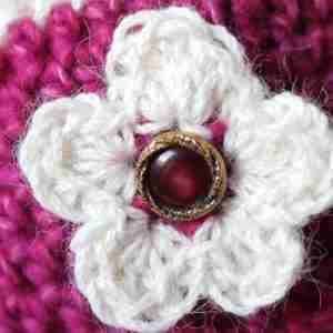 Berries & Cream Beanie - Fuchia & Cream Alpaca close up of flower