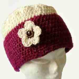 Berries & Cream Beanie Crochet Pattern - Fuchia & Cream Alpaca on head from front