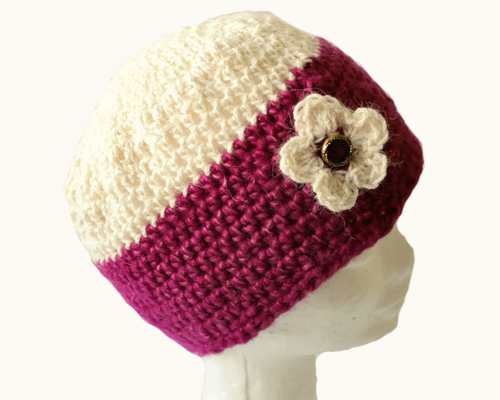 Berries & Cream Beanie Crochet Pattern- Fuchia & Cream Alpaca on head from side