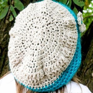 Berries & Cream Beanie Crochet Pattern in Turquoise & Bone on child's head from back