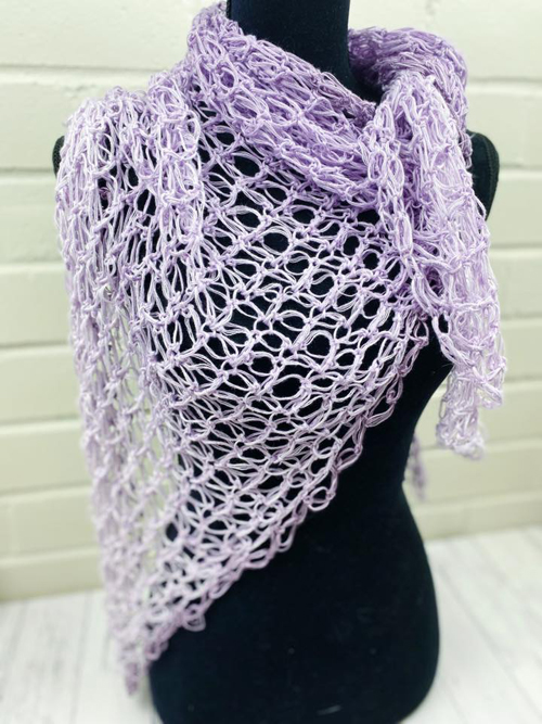 Entangled in Love Shawl Crochet Pattern - in mauve - on mannequin from front