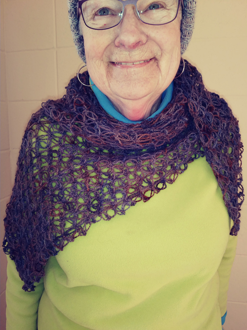 Tester Deb's version of Entangled in Love Shawl Crochet Pattern - in brown