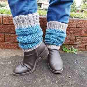 Heartland Bootcuffs - worn as boot cuffs on model Grey tweed cuffs with teal