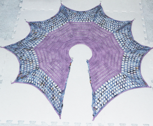 Second Art Gallery Shawl in The Reader and Jean Isherwood - blocking on the floor