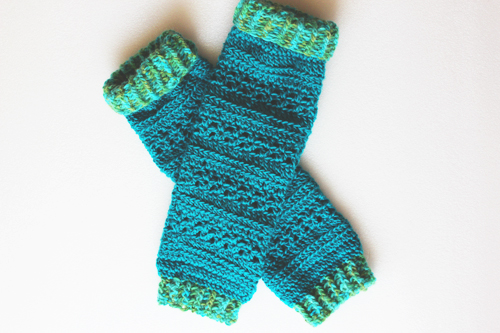 Turquoise Heartland Leg Warmers - Flat lay - full length crossed over with top cuffs folded