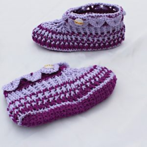 Ladies Croc-Trimmed Slippers Purple Mauve