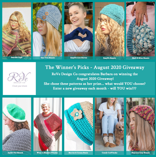 Winners Picks - Barbara - August 2020 Giveaway - win 10 patterns from ReVe Design Co