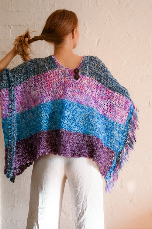 Raindrops Poncho by ReVe Design Co - Model Photo - full length from back