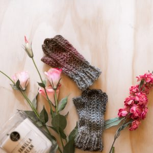 Bloomin' Comfy Mitts Crochet Pattern - Flatlay in Bloom 1