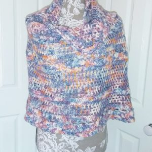 Spring in the Mountains Shawl - Great Southern Yarns 5ply - Rainclouds at Dawn - 3 skein version - draped on manequin