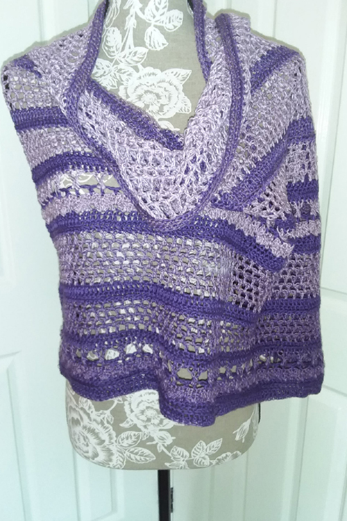 Spring in the Mountains Shawl - Purple Bobbel Boxx - wrapped on mannequin from front