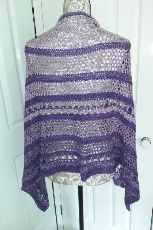 Spring in the Mountains Wrap - Purple Bobbel Boxx - flat on mannequin from back