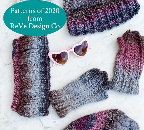2020 Patterns - Bloomin' Comfy Set (Mitts & Ear Warmer, Beanie and Ponytail Hat) - Flatlay in Burgundy 1