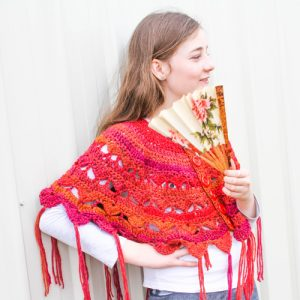 Traverse My Heart Ponchette Crochet Pattern - in Orange Variegated 1