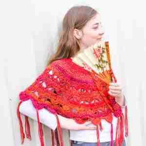 Traverse My Heart Ponchette Crochet Pattern - in Orange Variegated 1