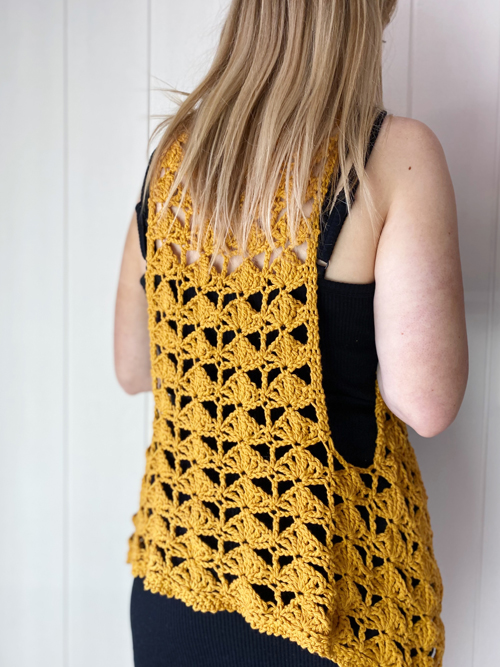 Fantail Vest Crochet Pattern by ReVe Design Co - Mustard cotton - modeled - from back
